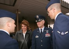 Commander greeting Airmen at graduation